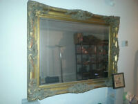 Antique Style Large Mirror Plaster Wood
