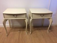 Pair of white and gold bedside tables