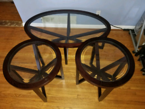 3 Piece Glass Table Set
