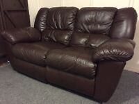 Luxury fultons full leather high end recliner 2 seat sofa