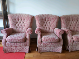 Pair of parker knoll button back armchairs