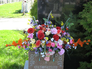 Floral arrangements for tombstone cemetery $35 , $40 , $ 43