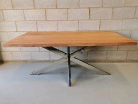 Lynx Mango Wood Modern Industrial Starburst Chrome Leg Dining Table