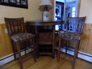 pub style table and wine storage table-2 chairs