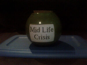 Mid Life Crisis savings jar with cork lid--NEW PRICE!! Kitchener / Waterloo Kitchener Area image 1
