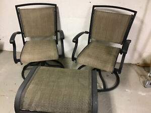 2 swivel/rocking patio chairs and ottoman