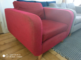 Marks & Spencers Snug Armchair red fabric 6 years old Excellent condtn