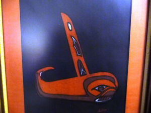 "Blackfish Artist, Original Haida Mask Pastel, Shawn Aster ""Orca"" Stratford Kitchener Area image 2"