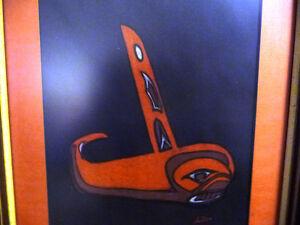 "Blackfish Artist, Original Haida Mask Pastel, Shawn Aster ""Orca"" Stratford Kitchener Area image 2"