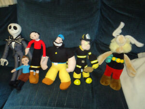 toutous/peluches/plush Mickey, Minnie, Popeye,etc.