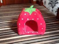 Strawberry cat/kitten igloo cushion basket