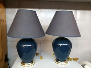 A pair of blue table lamp