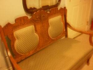 Antique 3 pieces, oak, 2 chairs and love seat.