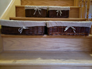4 wicker baskets with soft lining