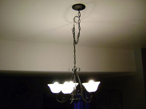 """Hampton Bay"" black five light fixture"