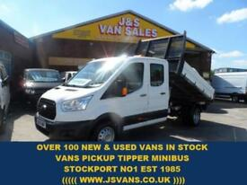 2015 15 FORD TRANSIT CUSTOM 2.2 350 L5 HD C/C DRW CREWCAB ALLOY TIPPER LOW MLS