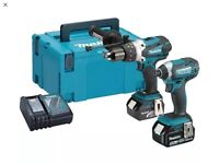 Makita impact driver, combi drill, 2x batteries and charger + case