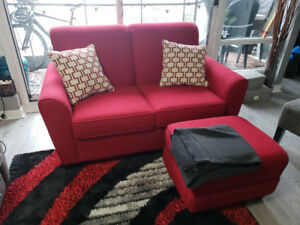 Red Loveseat - 2 Seater Couch Wth Ottoman