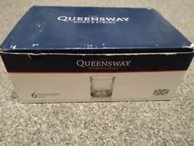 BNIB Queensway 6 cut glass whiskey tumblers