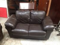 Sofas x2 brown leather matching