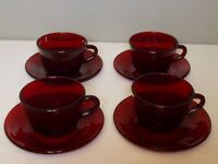 Ruby Red Glass Set of 4 Cups and Saucers - Anchor Hocking