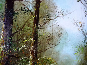 """Forest Landscape Painting by Carl Madden """"Forest Road"""" 1970's Stratford Kitchener Area image 9"""