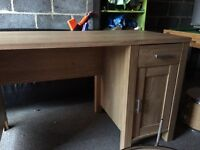 Large oak style office desk. Less than12 months old