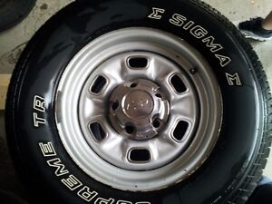 Chevy 14 inch Rally Rims and Tires