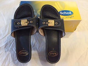 Scholl Leather look low heel sandals [shoes,boots]