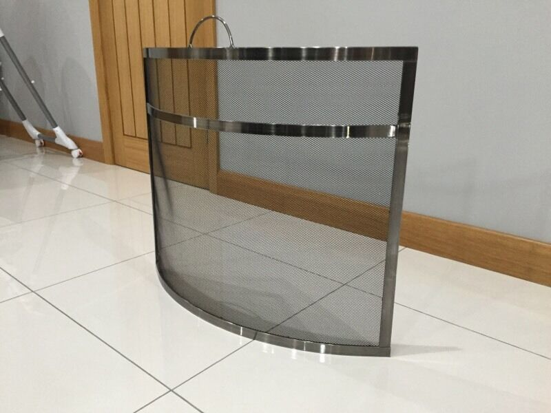 Modern Fire Guard Curved Pewter Finish In Kilrea County