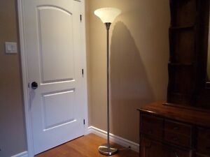 White and brushed Nickel   FLOOR LAMP