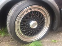 Bbs reps alloys 15 4 stud two brand new tyres lenso