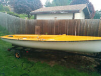 """15'6"""" Laser Sailboat w Sails and Trailer"""