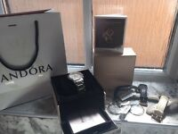 PANDORA Black Crown Diamond Watch with accessories