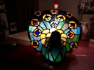 vintage stained glass peacock lamp as is