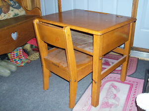 Small vintage desk and matching chair ...solid...very usable ...