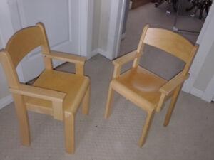 Two Children's wooden seats