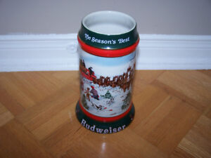 Budweiser 1991 Clydesdales Holiday Beer Stein - The Seasons Best