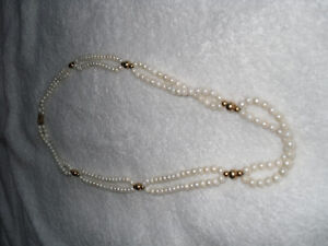 PEARL DOUBLE STRAND NECKLACE WITH GOLD ACCENTS