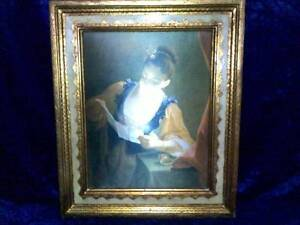 The letter antique silk painting with gold frame - mint condition Parramatta Parramatta Area Preview