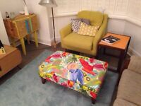 Beautiful Large Parrot Fabric Ottoman/table/footrest/stool