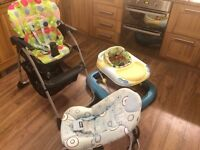 Chicco baby furniture (walker, rocker and high chair)