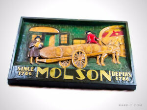Vintage 'MOLSON HORSE-DRAWN KEG CART' Beer Display/Advertisement