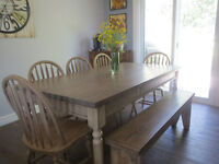 Farmhouse Table with bench and 5 chairs (SOLD PPU)