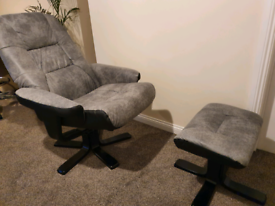 Swivel recliner armchair with footstool grey brand new rrp220£