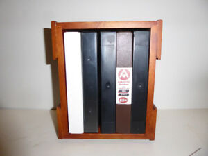 VHS SWIVEL WOODEN STAND & 5 CONTAINERS