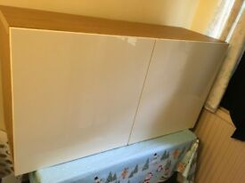 Ikea oak wall cabinet with white gloss doors and 2 shelves