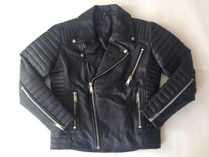 Genuine Lambskin Leather Moto Biker Jacket - Small/Medium/Large