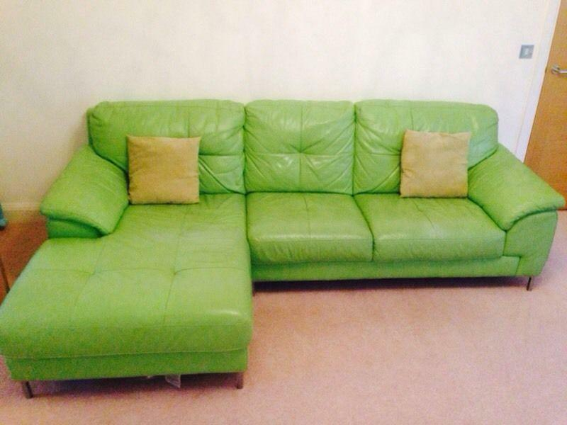AINSLEY Left Corner Leather Sofa With Fixed Chair