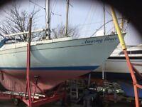 A go anywhere long keel. Halmatic 30